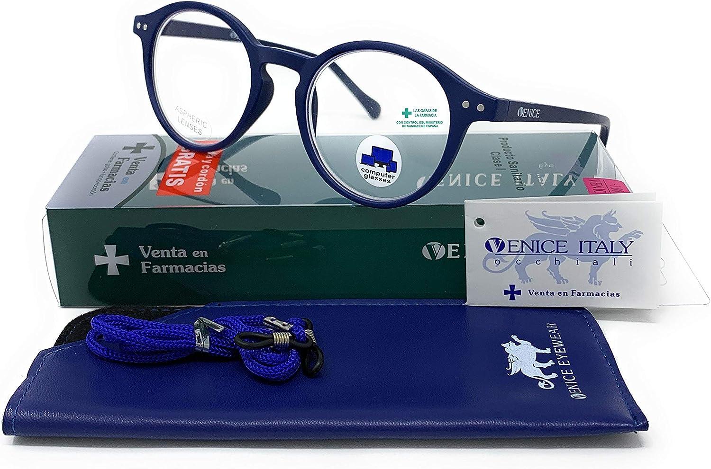 VENICE EYEWEAR OCCHIALI | New Model Gafas con filtro bloqueo de luz azul para gaming, ordenador, móvil. Anti fatiga Lennon Professional Executive UNISEX venice (Azul Marino, 0.00)