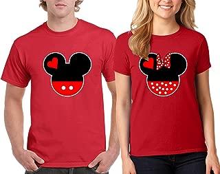CAMALEN Popular Love Heart Head Design Couple Round Neck T-Shirt Tee Shirt 1