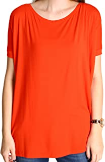 Women's Short Sleeve Loose Fit Bamboo Top,Small,Persian Red