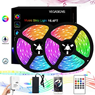 LED Music Strip Light 32.8 FT/10M, VEGASIGNS Color Changing Light 5050 RGB Tape Light Strip with Music Sync, Full kit with 20 Key RF Remote Controller for TV, Party, Bedroom, Bar and Home Decoration