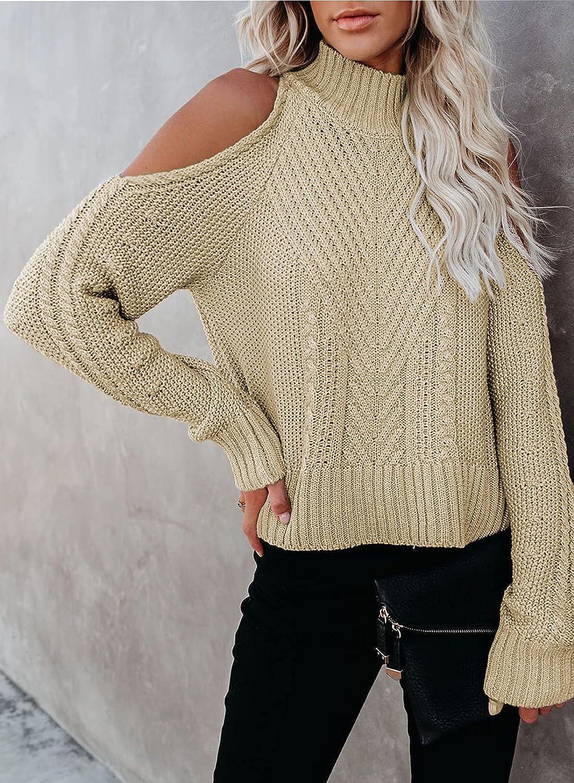 BLENCOT Womens Casual Loose Long Sleeve Crisscross Backless Knitted Winter Sweater Jumper Tops