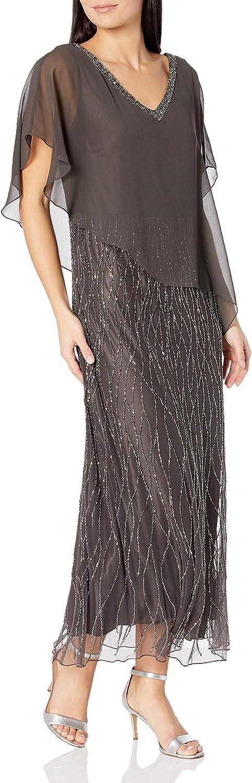 J Kara Women's Beaded Bottom Long Dress with Sheer Top