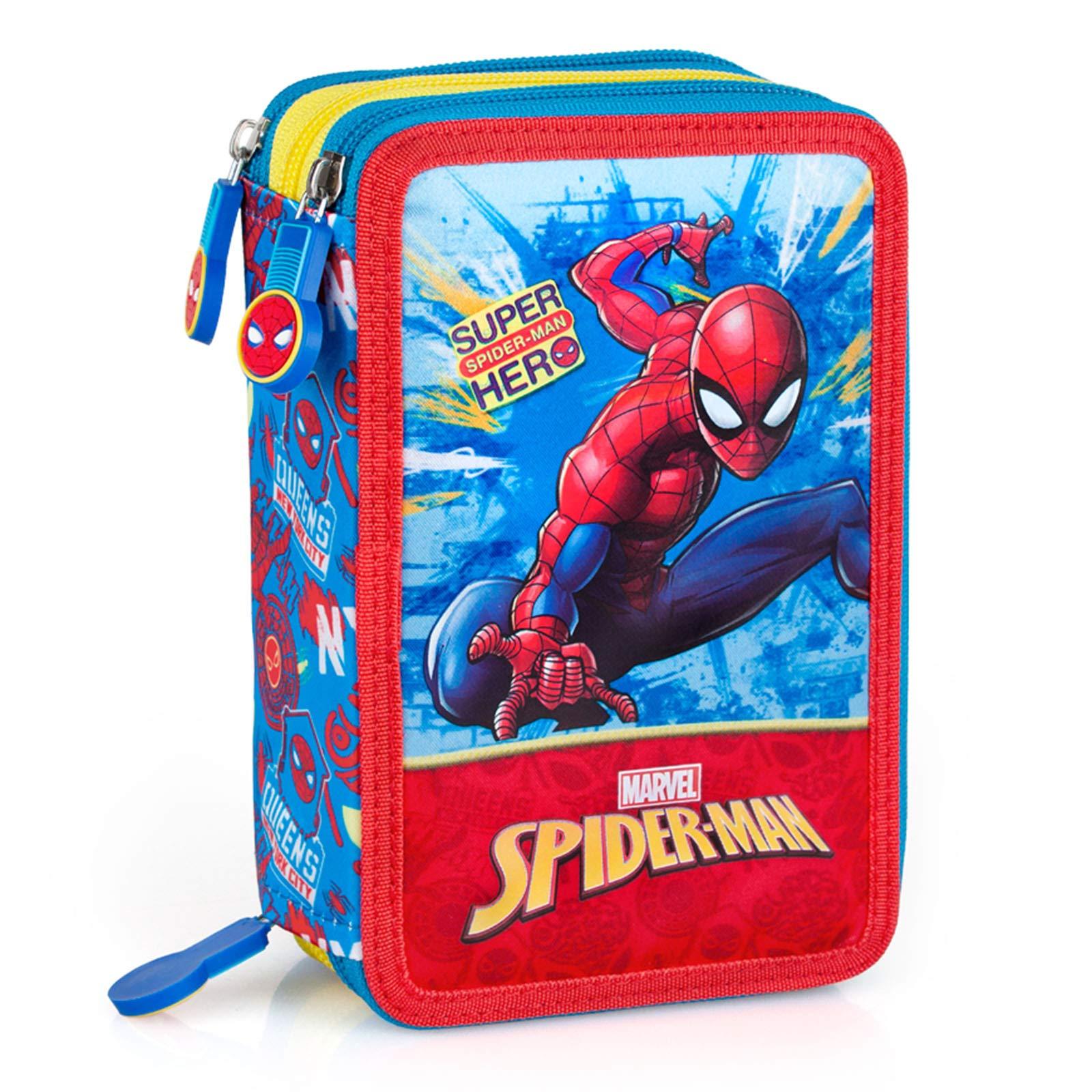 Spiderman 41434 - Estuche triple relleno, 44 accesorios escolares, 20 centímetros: Amazon.es: Oficina y papelería