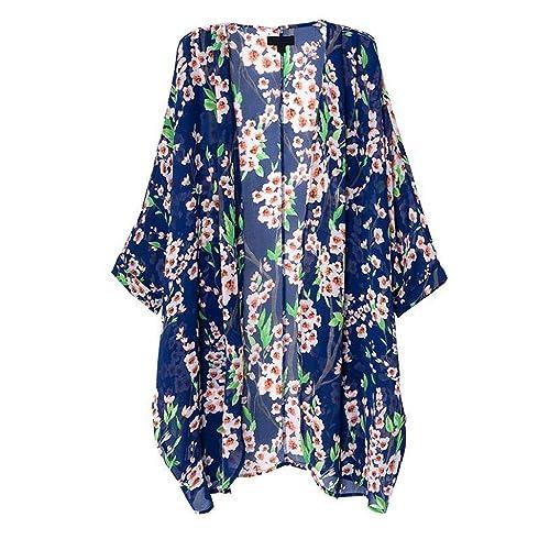 0ea1eaa4 OLRAIN Women's Floral Print Sheer Loose Kimono Cardigan Capes