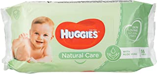 Huggies New Natural Care Baby Wipes, 56 count, Pack of 56