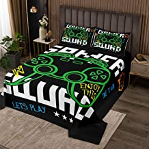 Manfei Green Gamepad Bedspread Queen Size Modern Gamer Controller Quilted 3 Pieces Coverlet Set with 2 Pillowcases Video G...