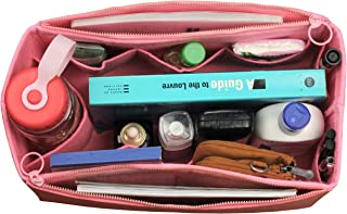 [Fits Neverfull MM/Speedy 30, Pink] Felt Organizer (with Double Zipper Bag), Bag in Bag, Wool Purse Insert, Customized Tote Organize, Cosmetic Makeup Diaper Handbag