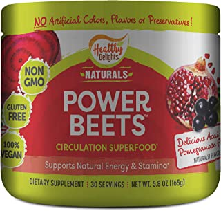 Healthy Delights Power Beets, Super Concentrated Non-GMO Beet Juice Powder, with Natural Caffeine and 0 Grams of Sugar, De...