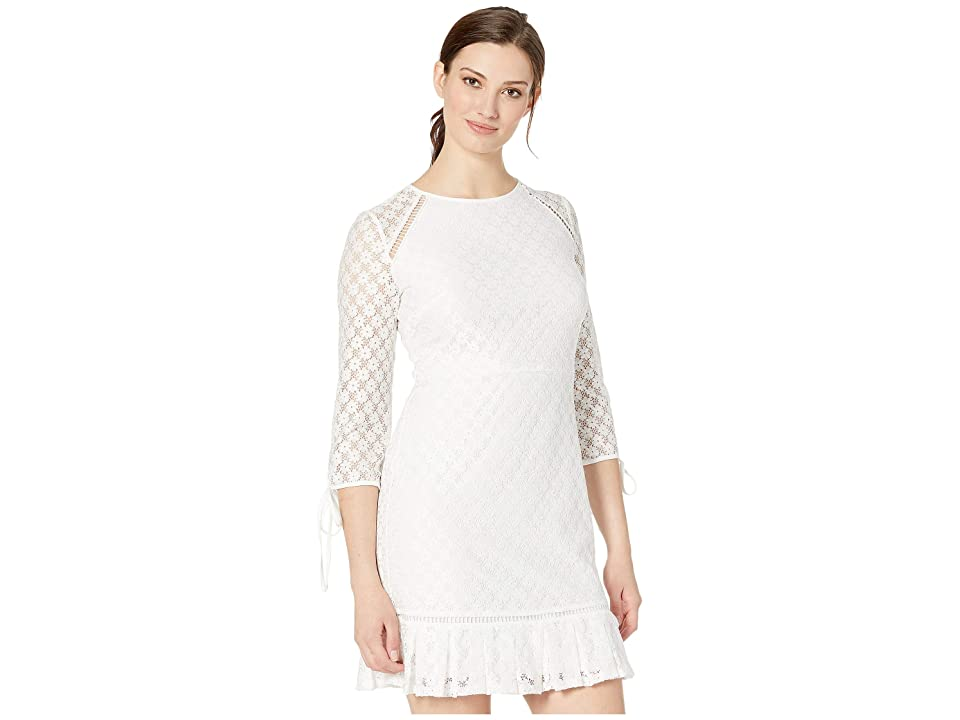 Nine West Lace 3/4 Sleeve Dress with Binding and Faggoting Details (Ivory) Women