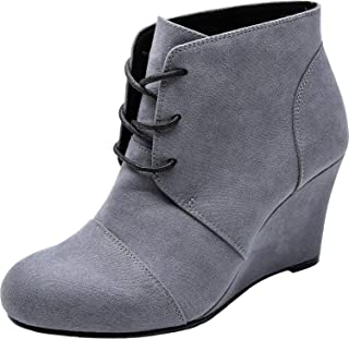 Women's Wide Width Ankle Boots, Block Low Heel Slip On Side Zipper Booties Cozy Comfortable Work Shoes.