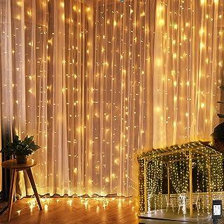 YINUO LIGHT Cortina Luces, 3m x 3m 300 LED Cadena de Luces Blanco cálido, 8 Modos Luz, IP44 Impermeable para decoración de dormitorio de jardín de fiesta de boda interior al aire libre