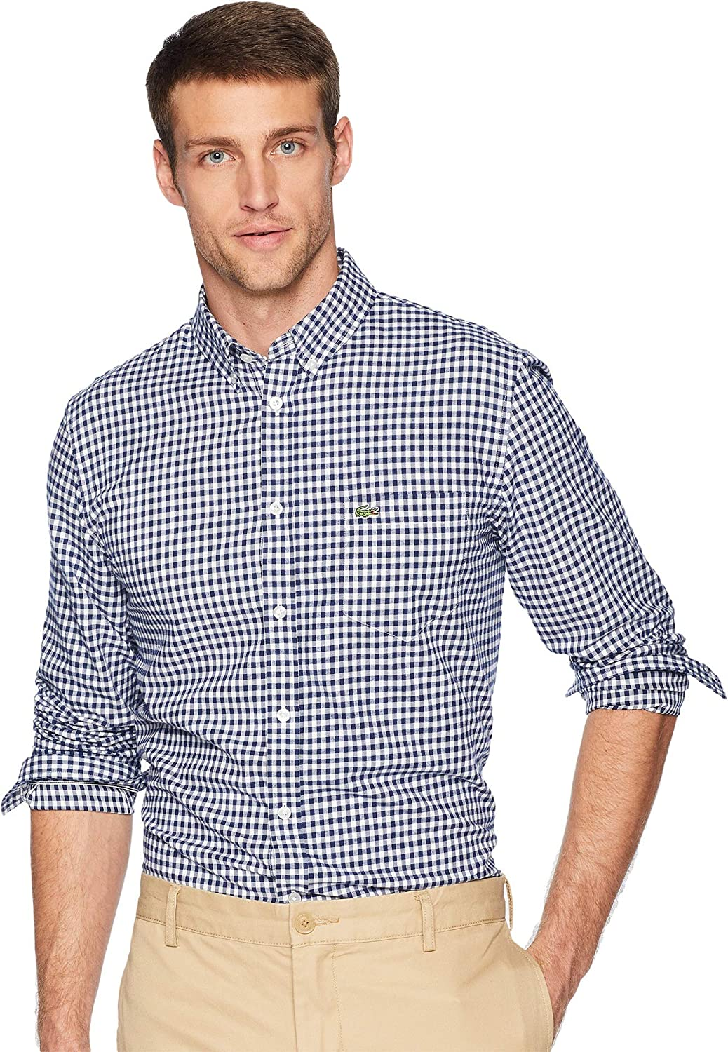 Lacoste Men's Long Sleeve Reg Fit Checkbox Casual Button Down