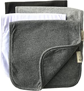 Burp Cloths for Babies, Grey Black and White Set, 20 by 10 Inches 3 Layers, Cotton and Absorbent fleece, 4 Pack