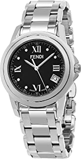 Loop Midsize Stainless Steel Dress Watch - 37mm Analog Quartz Black Face Classic Watch with Second Hand Date and Sapphire Crystal - Swiss Made Unisex Luxury Watches for Men or Women F235310