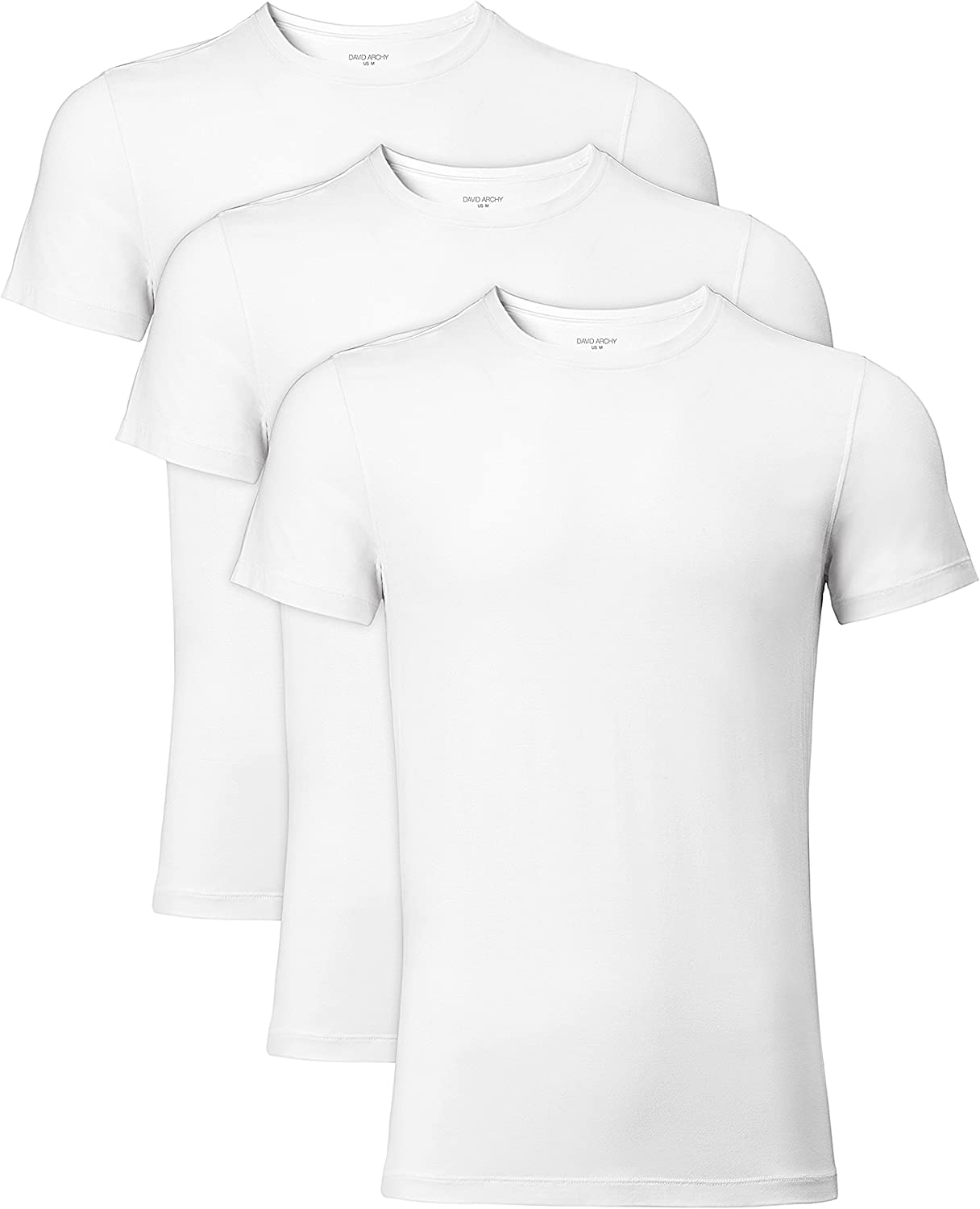 DAVID ARCHY Men's 3 Pack Soft Comfy Bamboo Rayon Undershirts Breathable Crew Neck Tees Short Sleeve T-Shirts