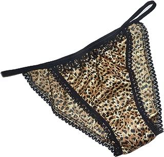 Shiny SATIN string bikini MINI TANGA panties BROWN LEOPARD with black lace 6 sizes Made in France