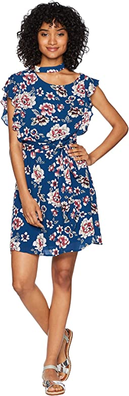 "Kiss It Better ""Indigo Botanical"" Printed Crinkle Viscose Dress"