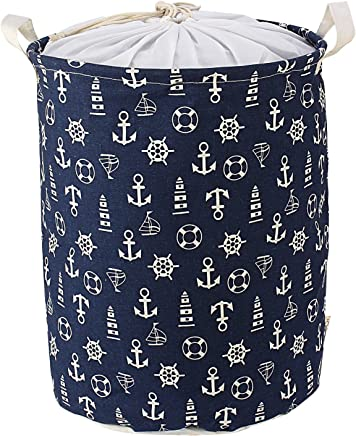 HOKIPO 46 L Cotton Foldable Round Laundry Basket (Blue)