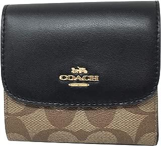 Coach Signature PVC Small Wallet Khaki Black F87589