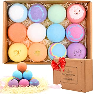 Suksadum Bath Bombs Gift Set, 12 Pack Fizzies SPA Gift Set Pure Natural Essential Oils Bubble Bath for Moisturizing Dry Sk...