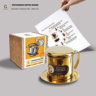 Vietnamese Coffee Maker Filter | French Press Style Coffee Filters | Pour Over Coffee Dripper | Portable Coffee Makers | Single Serve Coffee Maker| Reusable Coffee Press (Gold)