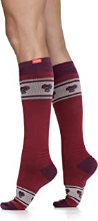 VIM & VIGR Women's 15-20 mmHg Compression Socks: Banded Heart - Cranberry (Cotton) (Small)