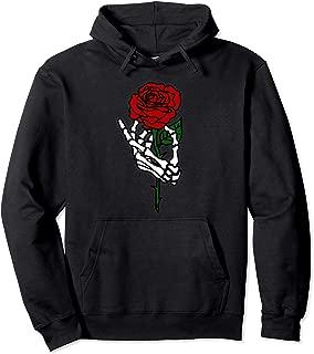 Skeleton Hand Holding Rose Hoodie, Tattoo Hoodies