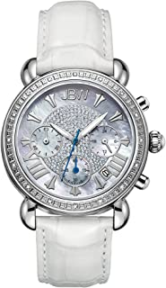 ساعة فيكتوري كرونوغراف الفاخرة من جي بي دبليو للنساء المرصعة بـ16 الماسة وعرق اللؤلؤ