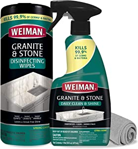 Weiman Disinfectant Granite Cleaner Kit - Safely Clean Disinfect and Shine Granite Marble Soapstone Quartz Quartzite Slate Limestone Corian Laminate Tile Countertops - Packaging May Vary