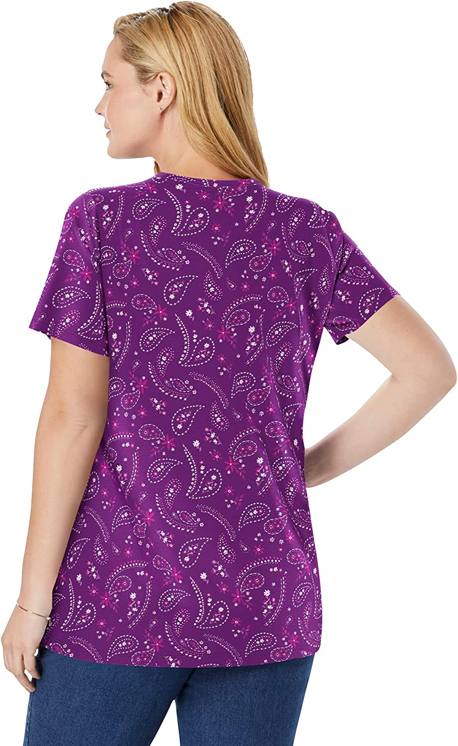 Woman Within Women's Plus Size Perfect Printed Short-Sleeve V-Neck Tee Shirt