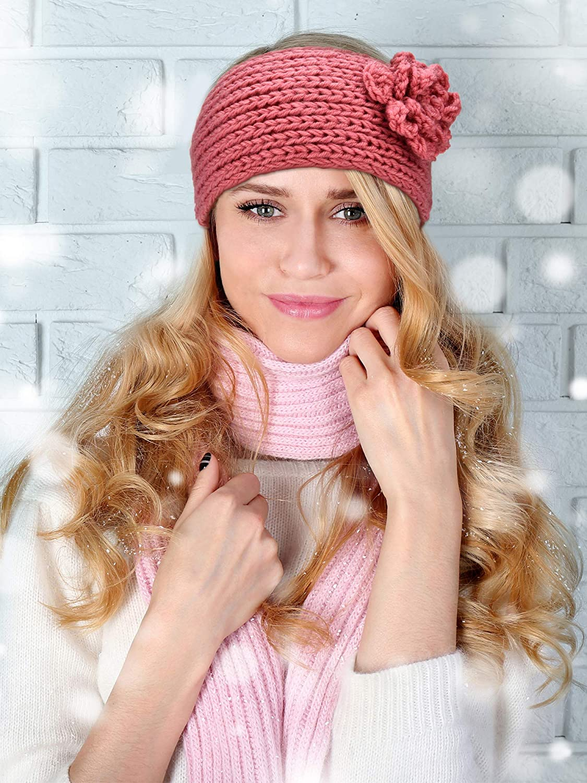 TecUnite 4 Pieces Chunky Knit Headbands Winter Braided Headband Ear Warmer Crochet Head Wraps for Women Girls (Color set 7)