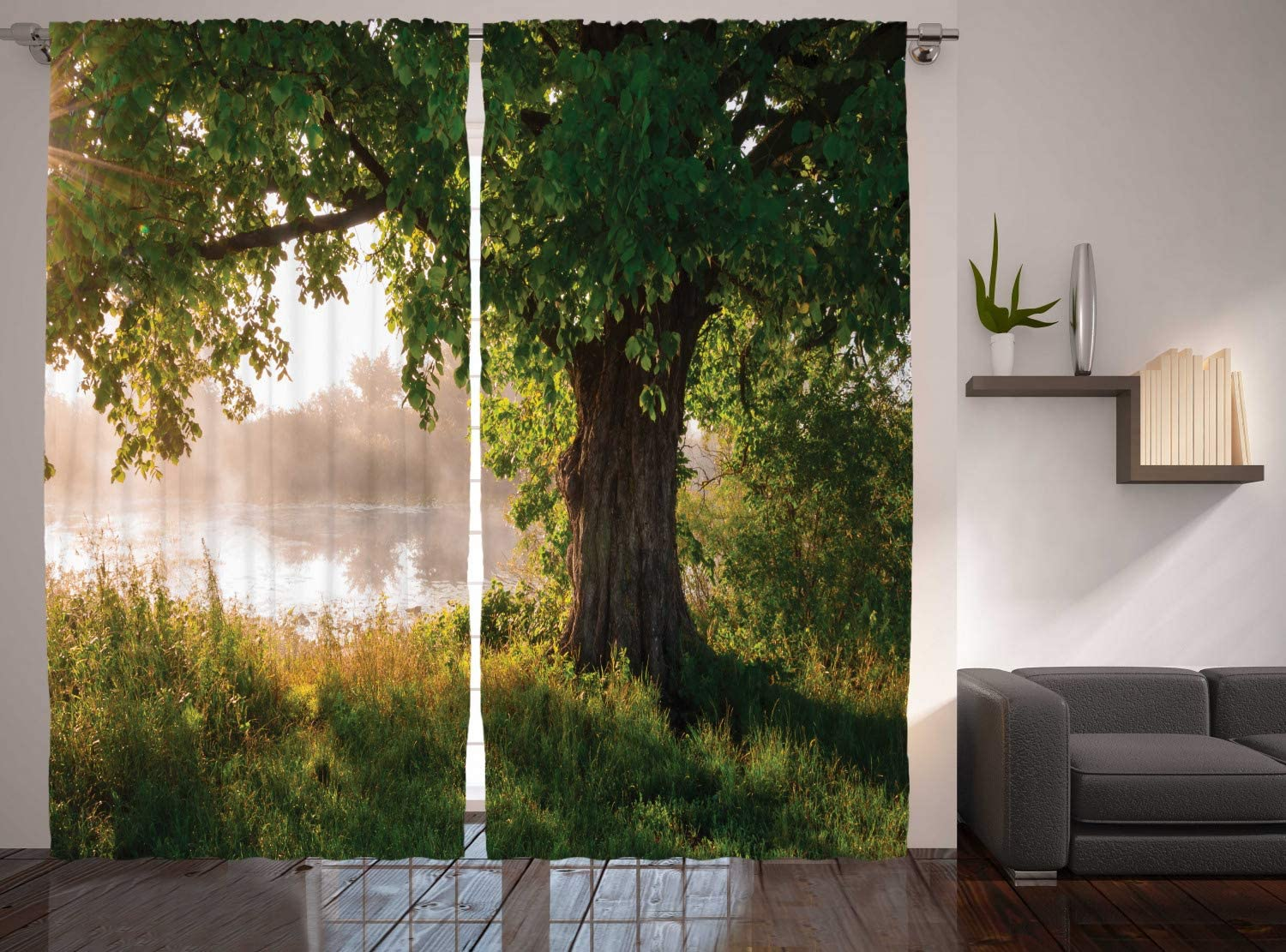 Ranking TOP3 Ambesonne Tree Curtains Leafage Foggy Scenery in Landscape OFFicial