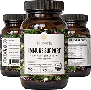 Truvani Immune Support | Organic Herbal Supplement for Immune Support | Vitamin C | 8 Natural Ingredients | Ginger, Elderberry, Amla Berry | 30 Day Supply | Label May Vary