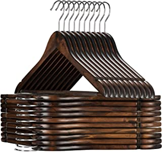 High-Grade Wooden Suit Hangers with Non Slip Pants Bar -Smooth Finish Solid Wood Coat Hanger with 360° Swivel Hook and Precisely Cut Notches for Camisole, Jacket, Pant, Dress Clothes Hangers (30 Pack)