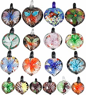 TUMBEELLUWA Glass Necklace Lampwork Glass Pendant Assorted Random Color