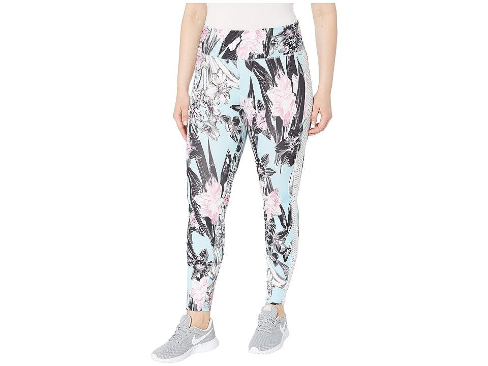 Nike One Tights Hyper Femme (Sizes 1X-3X) (Topaz Mist/White/Reflective Silver) Women