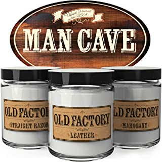 Old Factory Scented Candles for Men - Man Cave - Decorative Aromatherapy - Handmade in The USA with Only The Best Fragrance Oils - 3 x 4-Ounce Soy Candles