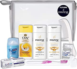 Convenience Kits International Women's 10-Piece Deluxe Kit with Travel Size TSA Compliant Essentials, Featuring: Pantene Hair Products in Reusable Toiletry Bag