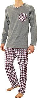 comprar comparacion Sesto Senso® Pijama Hombre Largo Inverno clásico 100% Algodon 2 Piezas Ropa De Dormir Conjunto Camisa Manga Larga Pantalon...
