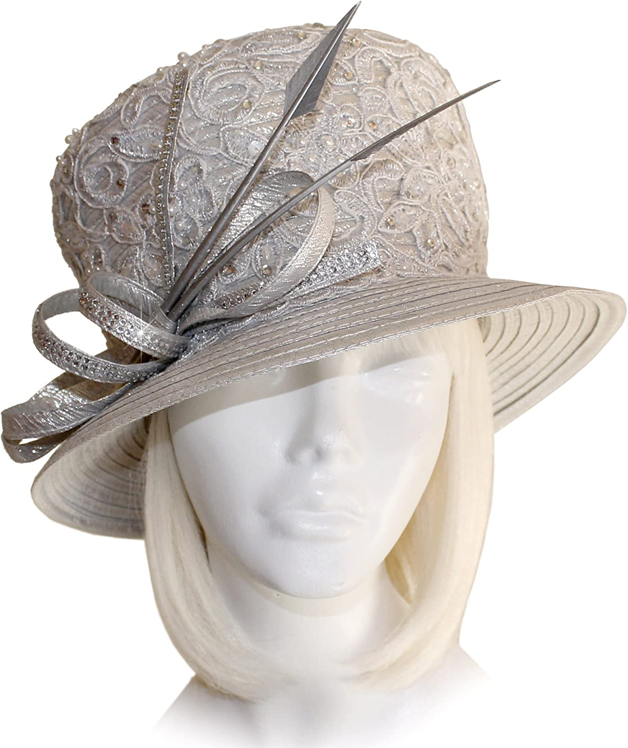 Mr. Song Millinery Classic Crown Small Brim Hat with Premium Lace  Q192 Pewter Silver