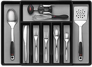 Expandable Cutlery Drawer Organizer, Flatware Drawer Tray for Silverware, Serving Utensils, Multi-Purpose Storage for Kitc...