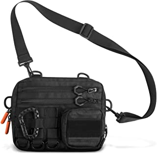 Fitdom Black Small Tactical Messenger Bag For Men. Multiple Ways to Carry as Sling, Shoulder, Crossbody, Waist, Pouch Side Pack. Made with Heavy Duty Fabric. Pack This EDC Tactical Bag w/Tool & Gear