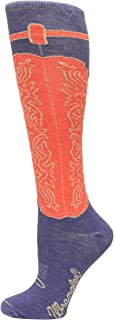 Wrangler Ladies Wild West Boot Socks 1 Pair, Blue, W 7.5-9.5/M 6-8