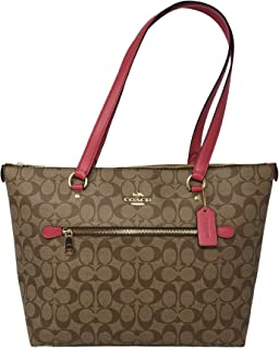 Signature Canvas and Leather Gallery Tote Shoulder Bag, Khaki/Poppy