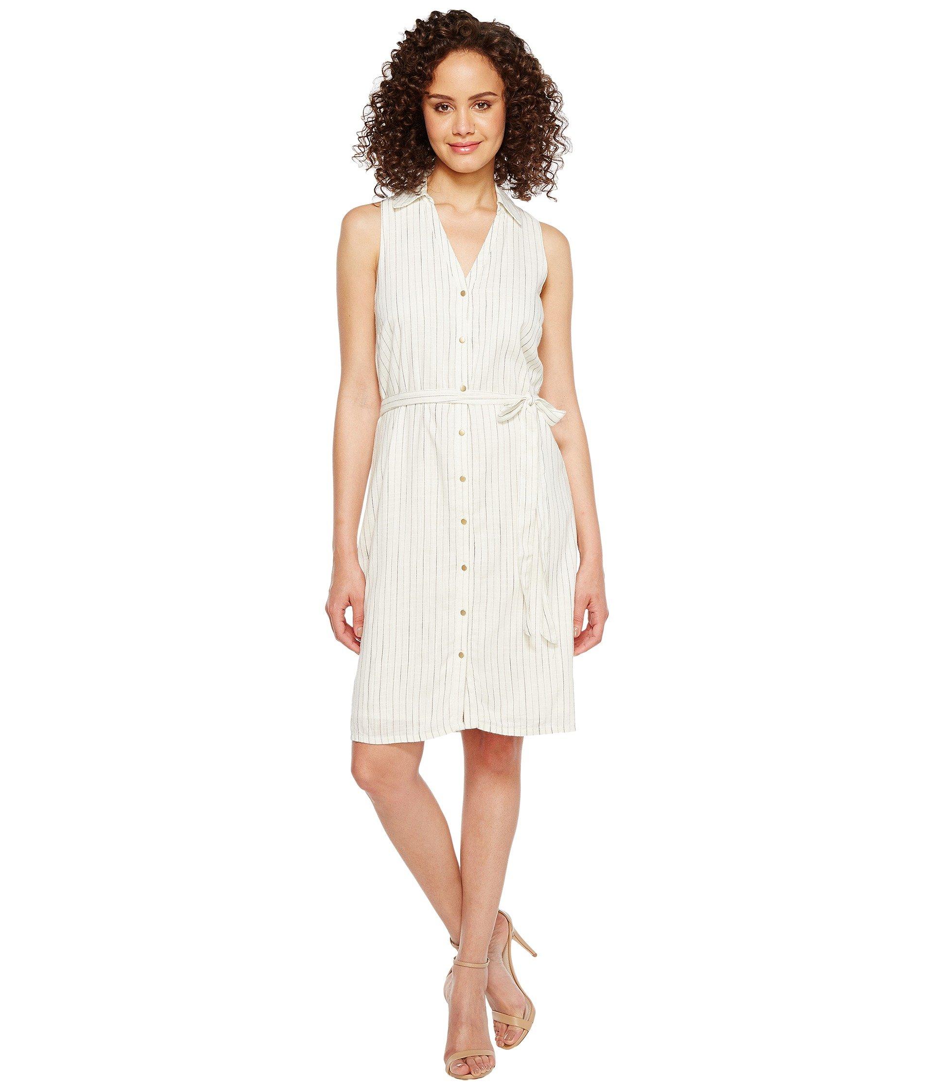 Cotton Blend Stripe Shirtdress