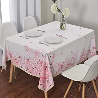Wewoch Decorative Cherry Blossom Floral Print Rectangle Tablecloth Waterproof Fabric Lace Table Cloth for Dining Kitchen Room and Party 60 Inch by 84 Inch