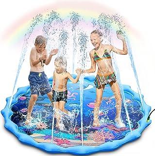 Almohadilla de rociador y salpicaduras, grande de 68 pulgadas inflable rociador pad vading, al aire libre Ocean Life Splash Play Mat juguete de agua para niños de 1 a 12 años