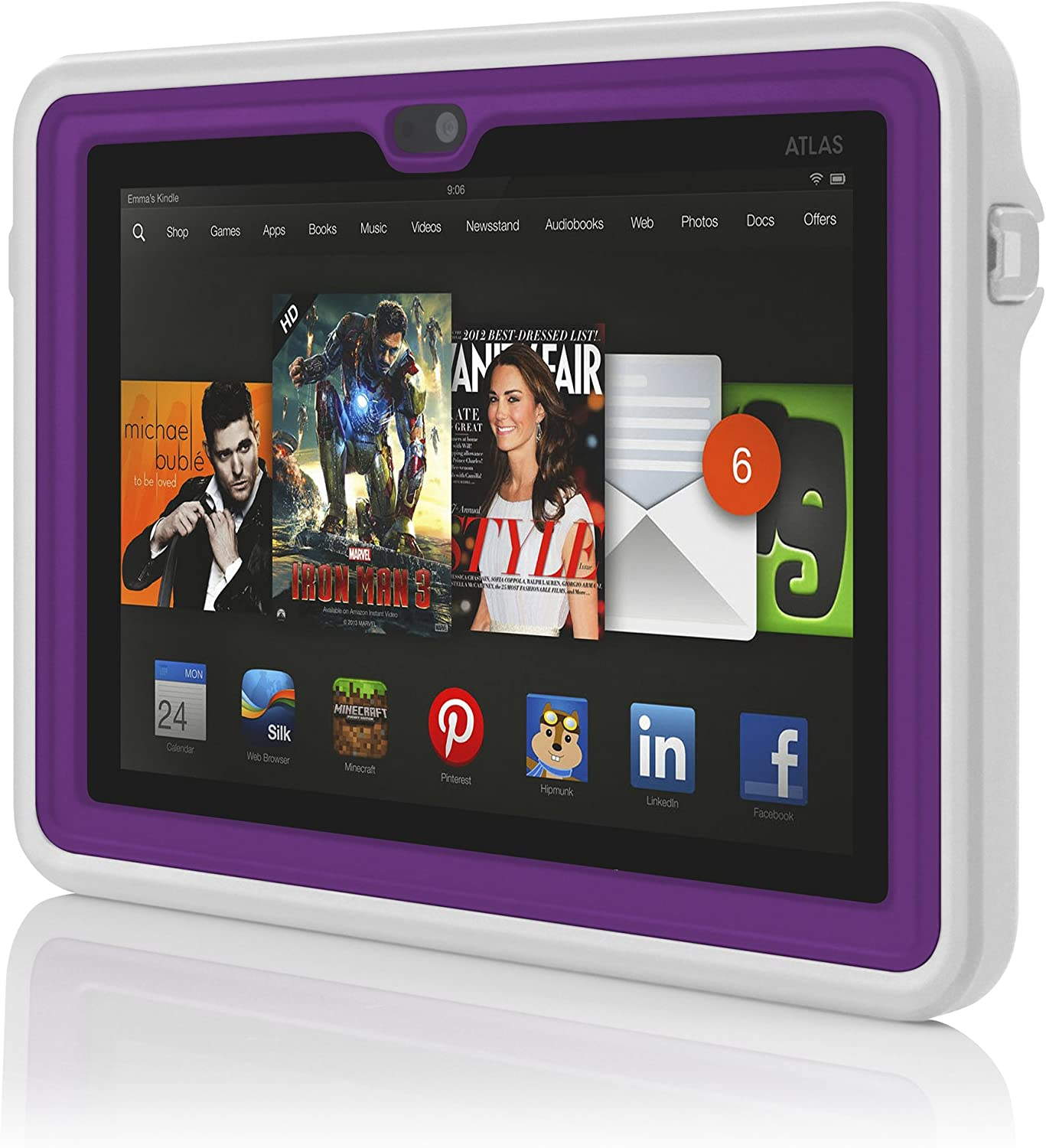 Amazon Com Atlas Waterproof Case For Kindle Fire Hdx 7 By Incipio Purple Kindle Store