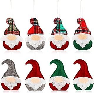 8 Pieces Christmas Handmade Swedish Tomte Felt Santa Gnome Hanging Ornaments for Xmas Party Decorations