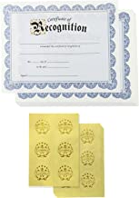 Certificate Paper – 48 Certificate of Recognition Award Certificates with 48 Excellence Gold Foil Seal Stickers, for Student, Teacher, Employee, Professor, Blue, 8.5 x 11 Inches